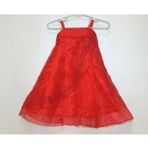 Chic Baby Inc Dress Sheer Red Beaded Pageant Flowe